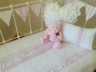 3pce  Juliet Pink Cot Quilt Bunting  & Cushion Shabby Chic Baby Girl Nursery Set