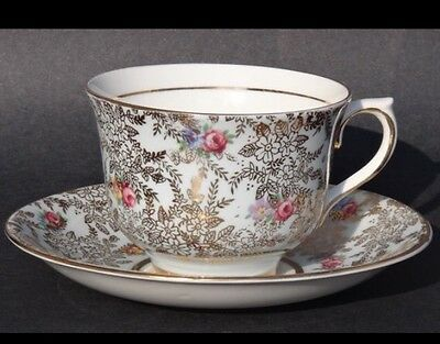 Vintage COLCLOUGH rose flowers gold foliage bone china tea cup and saucer 6503