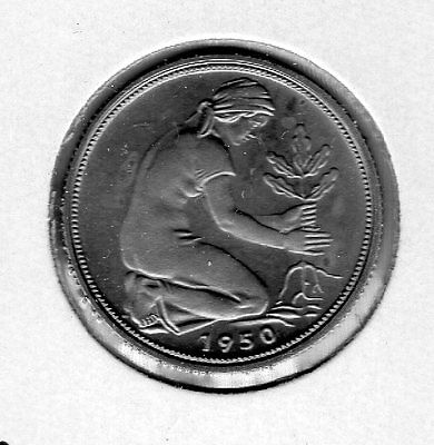 1950 G Germany 50p. Very nice looking coin. Includes Free shipping in US.