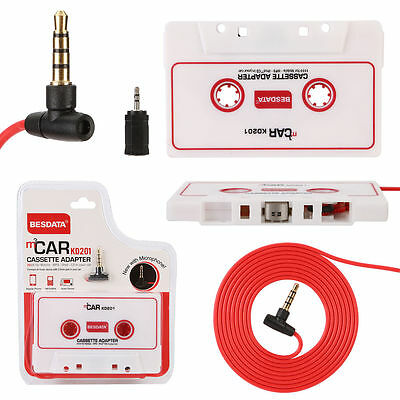 Auto Car Cassette Adapter For 3.5mm iPhone iPod MP3 Audio CD Player with Mic