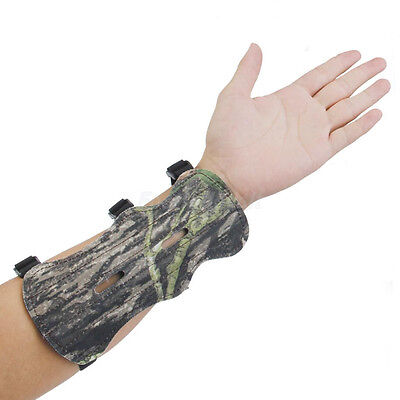 Camouflage Leather Shooting Archery Bow Forearm Arm Guard Protection 3 Straps SM