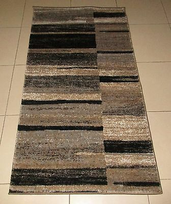 New Modern Brown/grey Heatset Floor Hallway Runner Rug 80X150Cm