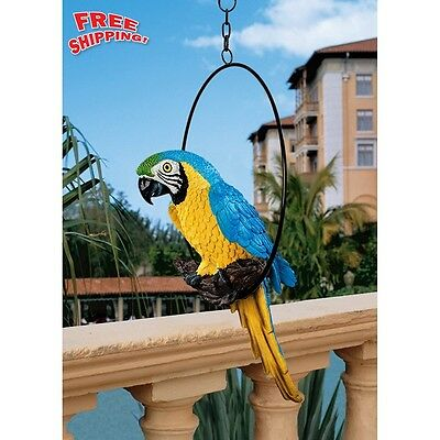 Macaw & Parrot Statue Figurine Sculpture Hand Painted Bird Wild Life Decor Yard