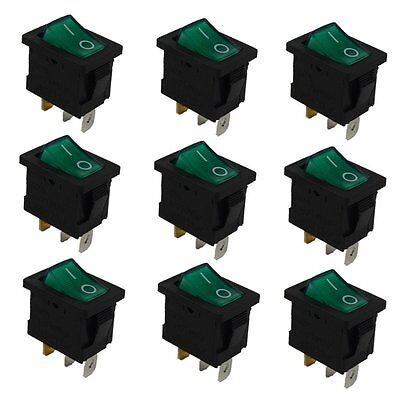 9 Pcs Green 3Pin 2Position ON/OFF SPST With lamp Rocker Switch 6A 25VAC 10A 125V
