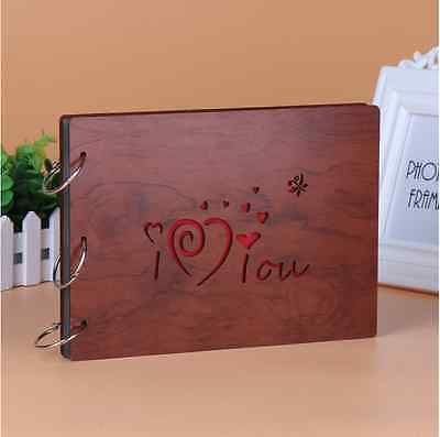 DIY 30Pages 27.3 x 19.8cm Wood Cover 3 Rings Photo Album Scrapbook I LOVE U