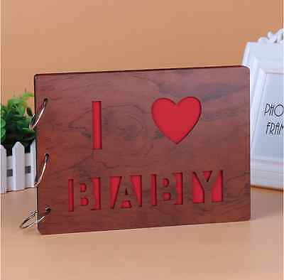 DIY 30Pages 27.3 x 19.8cm Wood Cover 3 Rings Photo Album Scrapbook I LOVE BABY