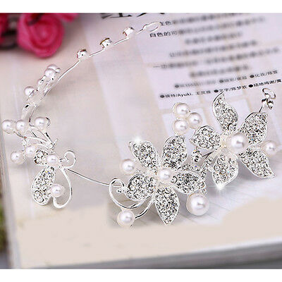 Wedding Silver Crystal Pearls Flower Bridal  Hair Pin Hairpin Clip Headband Comb