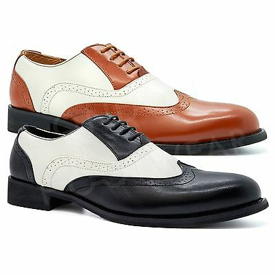 New Mens Two Tone Brogues Formal Gangster Leather Lace Up Oxford Wingtip Shoes