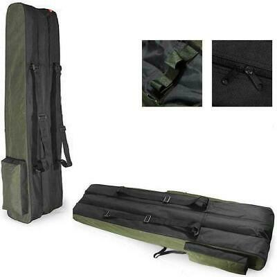 3 POCKETS 160cm FISHING HOLDALL BAG LUGGAGE for made up rods & reels GREEN BLACK