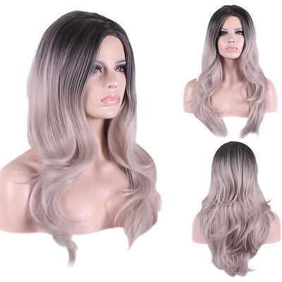 Elegant Women Long Ombre Wig Curly Wavy Heat Resistance Synthetic Cosplay Wigs