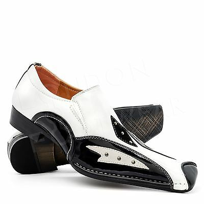 New Mens Italian Gangster Spats Shoes Black White Formal Dress Slip On Smart UK