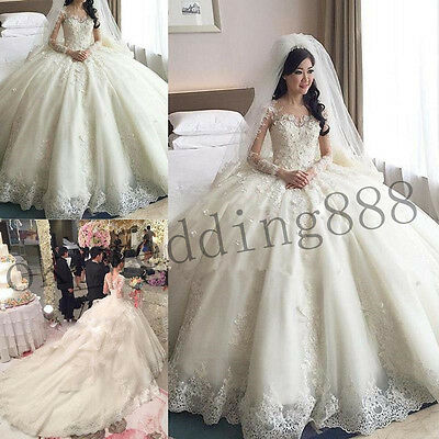 New Long Sleeves wedding bridal gown dress custom size 6-8-10-12-14-16++++