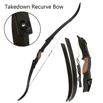 Archery Takedown Recurve Bow Right Hand Hunting Shooting Game Double Arrow Rest