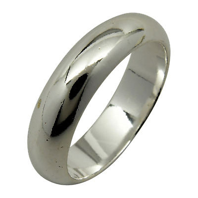 Sterling Silver Plain 5mm Wedding Band Ring Half Round Dome Engagement .925