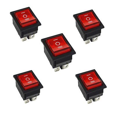 5Pcs Red Rocker Switch ON/OFF/ON 3 Position 6Pins With Lamp AC 250V16A