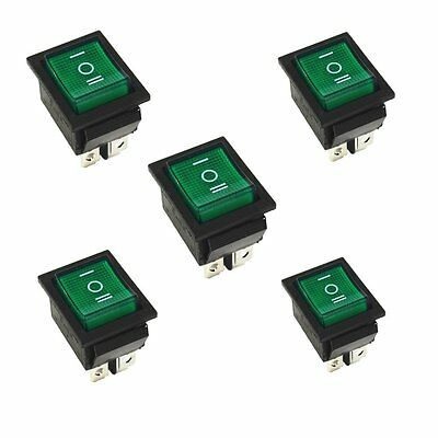 5Pcs Green Rocker Switch ON/OFF/ON 3 Position 6Pins With Lamp AC 250V16A