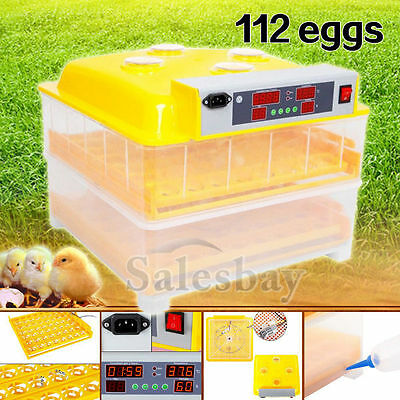 Digital 112 Eggs Incubator Automatic Poultry Chicken Duck Egg Viewing Hole