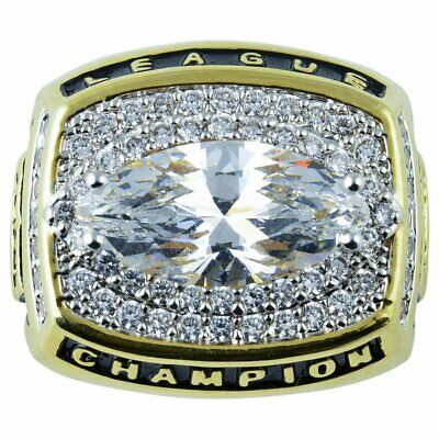 Fantasy Football Championship Trophy Ring Gold Plate & CZ