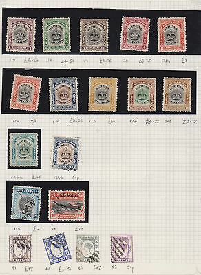 2 Pages Of Mnh, Mint And Used Postage Stamps From Borneo- Labuan High Cv
