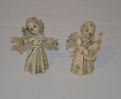 2 Vintage plastic angel fairy figurines mandolin hymnal made in Italy Cherub