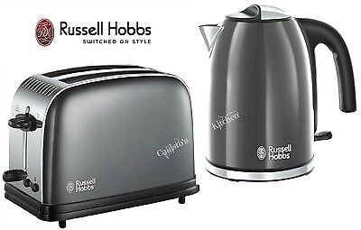 Russell Hobbs Colours Plus Kettle and Toaster Set Grey Kettle & 2 Slice Toaster