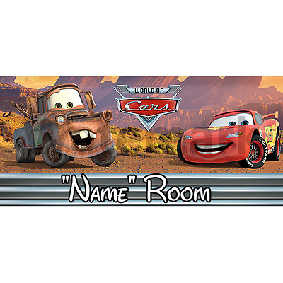Disney Cars Personalised Bedroom Door Sign / Plaque - Any Text/Name (2)