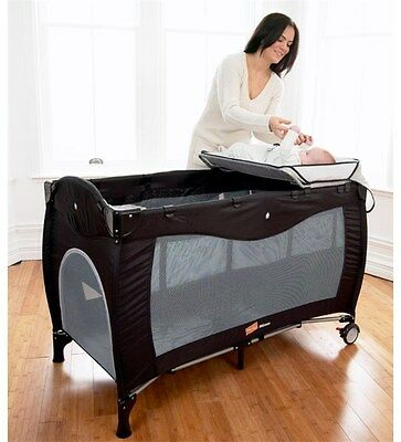 Babyway Mimas Luxury Baby Travel Cot With Multi-Layers & Bassinet - Black