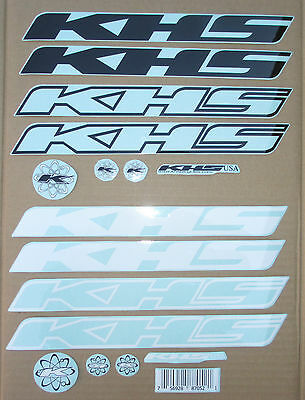 Stickers KHS Bicycle Frame Decal Sets Black and White New Design