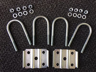 """ZINC U Bolt Kit for 3500# Trailer Axle Cargo Utility 1/2"""" fits 2-3/8"""" Round Pipe"""