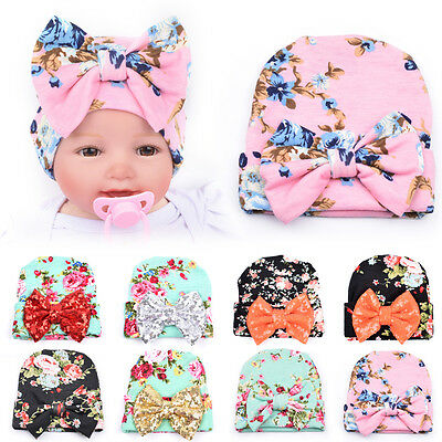 Cute Newborn Baby Girl Toddler Big Bowknot Hospital Cap Infant Floral Beanie Hat