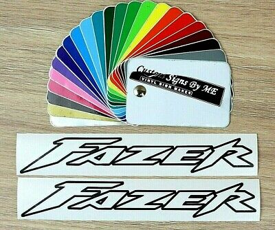 2x FAZER Outlined Stickers Tank Fairing Vinyl Decals Adhesive BLACK