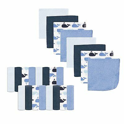 """Luvable Friends 24 Pieces Baby Boys Washcloths 9 X 9"""" Whale New"""