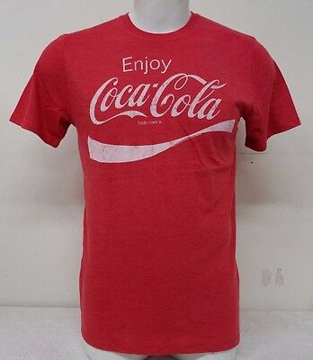 Enjoy Coca Cola Vitage Logo Men's Top Red T Shirt New With Tags Straight Fit