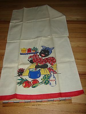 Black cook printed hand towel w/ red applied edge
