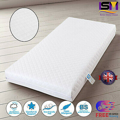 New Quilted Baby Cot / Cotbed Toddler Mattresses Splashproo Breathable All Sizes