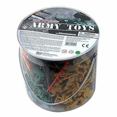 Large Bucket of  Army Toy Soldiers in 4 colours + National Flags over 100 pieces