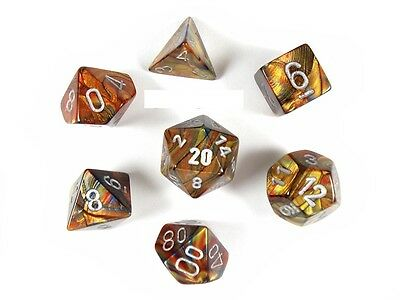 Lustrous Gold with Silver 7 Dice Set CHX27493