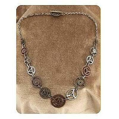 STEAMPUNK Brass Silver Toned Mixed GEARS CHOKER Necklace PROP Costume Jewelry