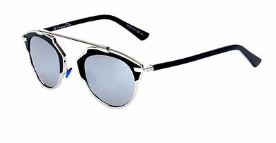 New Authentic Christian Dior So Real Silver Black Frame Mirror Lens Sunglasses