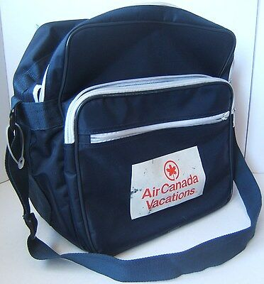 Vintage Air Canada Vacations Zippered Travel Bag w/ Shoulder Strap Dark Blue