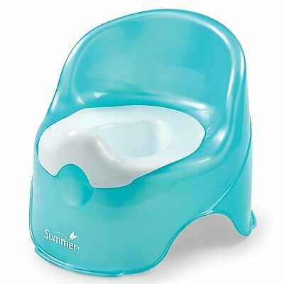 Baby Potty Toddler Training Chair Toilet Seat Back Kids Bathroom Teal White