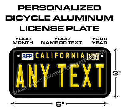 California Custom Vintage ANY TEXT Bicycle Bike Power Wheels License Plate Tag