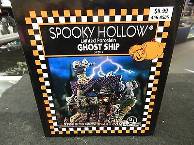 New  Spooky Hollow Lighted Porcelain Ghost Ship  Halloween