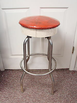 Vtg Ice Cream Parlor Soda Shop Bar Stool Swivel Seat Space Age Retro Red White