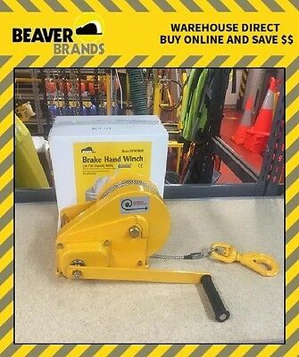 Beaver Brake Hand Winch Lift 600kg 24m SS Rope BHW2600R