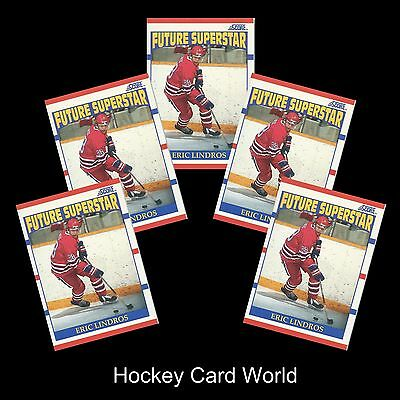 (HCW) 1990-91 Score American #440 ERIC LINDROS x5 Lot ROOKIE RC NHL 02468