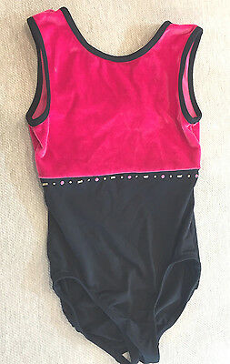 Girls Freestyle DANSKIN Black~Hot Pink Velour Dance Gym LEOTARD Sz M 7~8