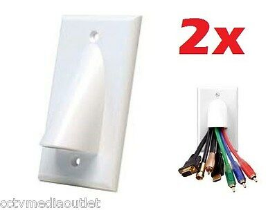 2x Single Gang Organize Bulk Wire Cable Wall Face Plate - White