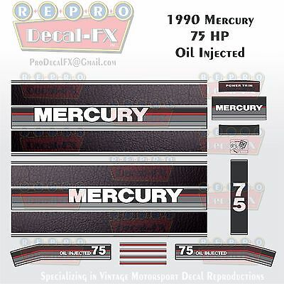 1984-85 Mercury 150HP Oil Injected V6 Black Max Outboard Repro 17Pc Vinyl Decals
