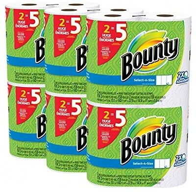 Bounty Select a Size Paper Towels White Huge Roll 12 Count Bathroom Paper New